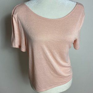 BP BNWOT pink short sleeve top double scoop neck